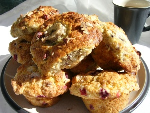 Raspberry Yogurt Muffins (shown with Banana Nut Muffins)