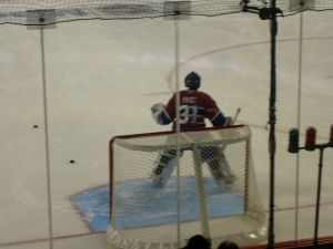 Goaltender Carey Price warms up before the game