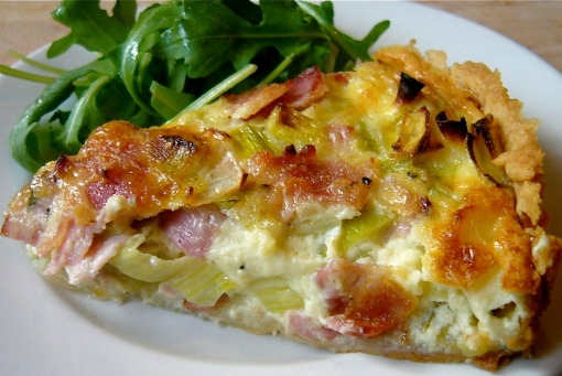 Leek and Ham Tart with a green salad