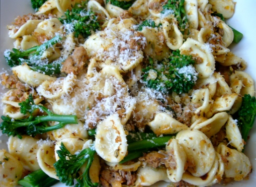 Orecchiette with Rapini, Sausage and Garlic Crumbs