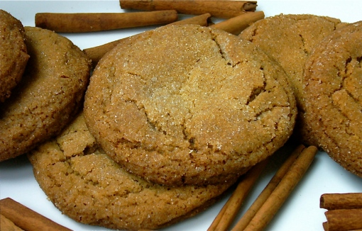 Spiced Ginger Cookies with cinnamon stick garnish