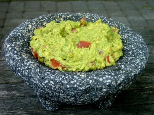Guacamole, served in a molcajete