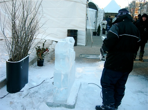 An ice sculptor at work