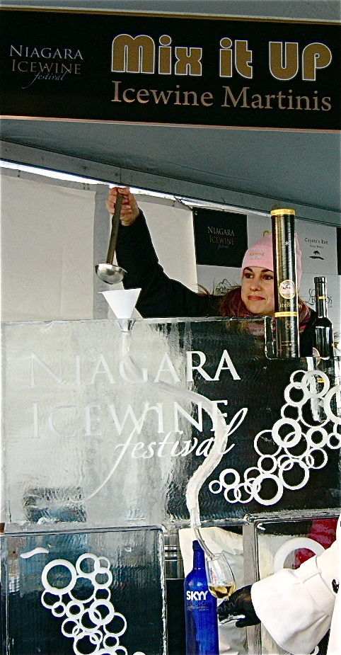Icewine martinis are poured through an ice chute