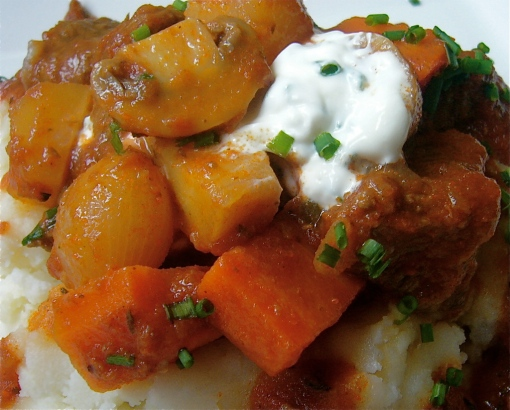 Guinness Stew with chive sour cream