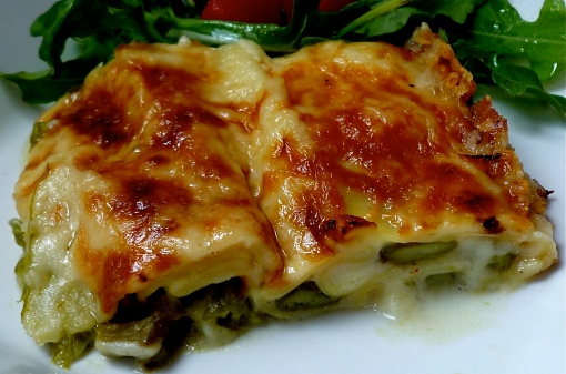 Roasted Asparagus Lasagna with Salad