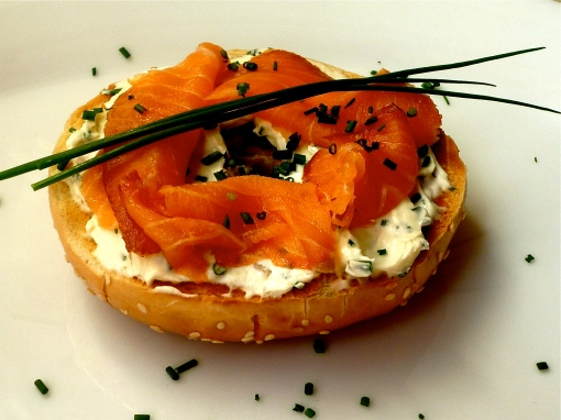 Chive cream cheese with smoked salmon on a toasted bagel