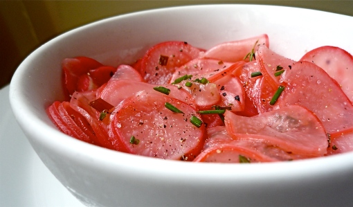 Pickled radishes are great on sandwiches or in salads