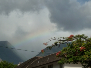 A rainbow over the mountains, from Lahania, Maui