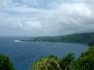 A view of the Pacific from the Road to Hana