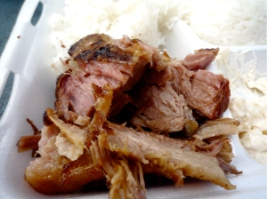 A 'plate lunch' featuring juicy teriyaki pork, sticky rice and macaroni salad