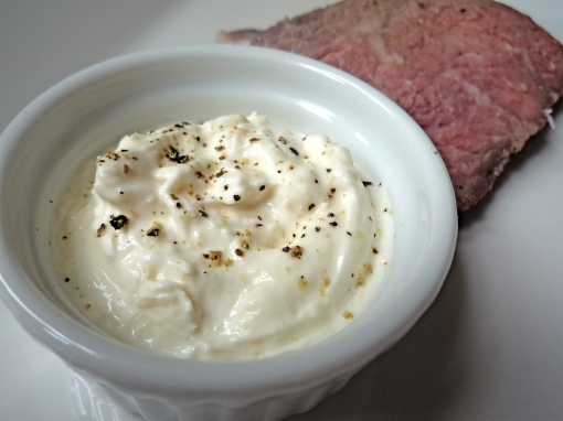 Horseradish Cream with medium-rare roast beef