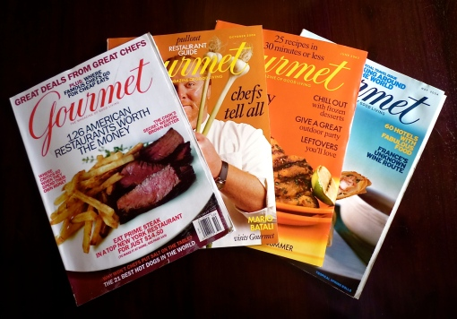 Various issues of Gourmet magazine through the years
