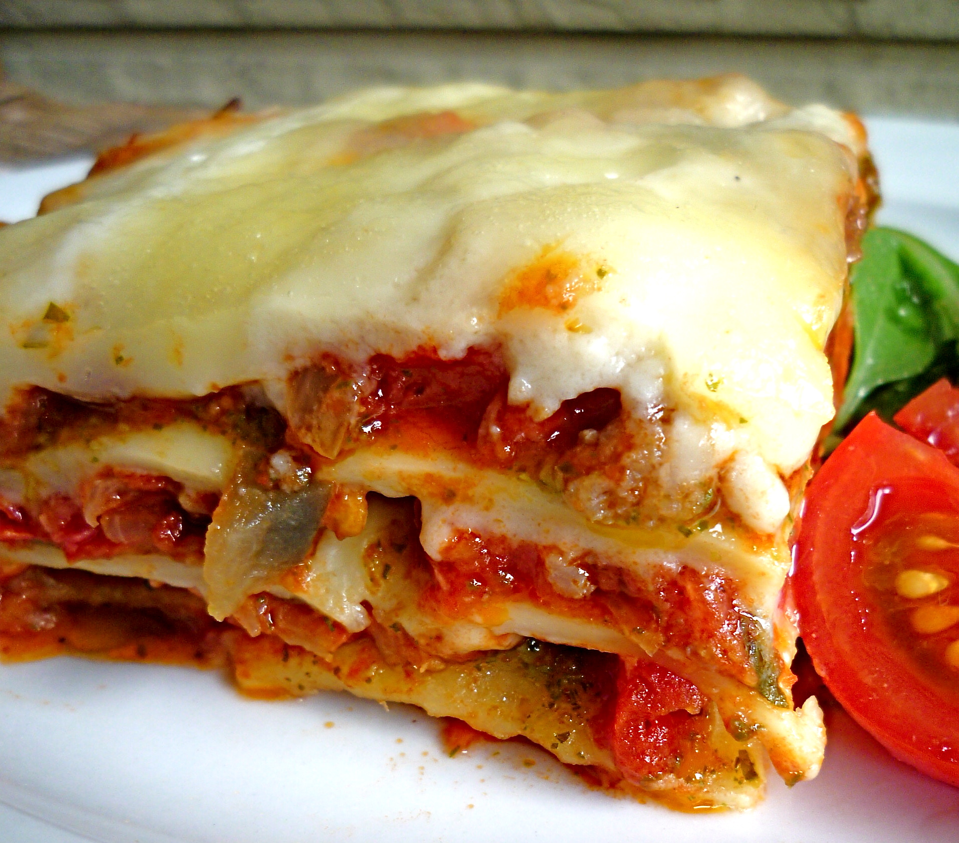 Summer Lasagna with Vegetables, Sausage and Pesto